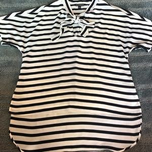 Express small black and white striped blouse